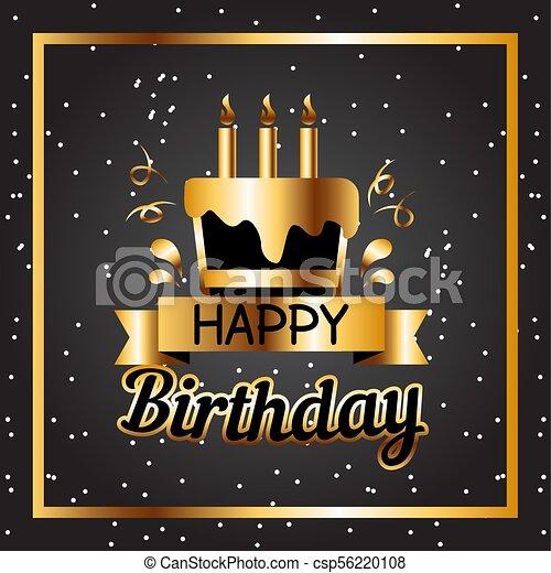 Happy Birthday Cake Golden Square Frame Black Background