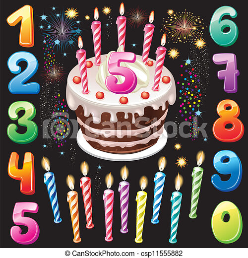 Happy Birthday cake, numbers and firework  - csp11555882