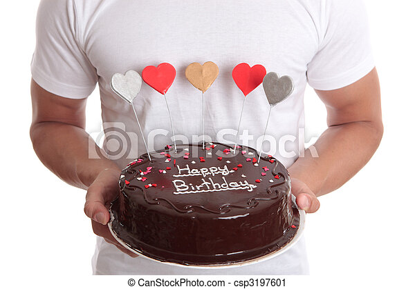 Happy Birthday Cake Man Holding A Chocolate With