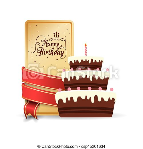Happy birthday cake sweet decorative card ribbon vector vectors