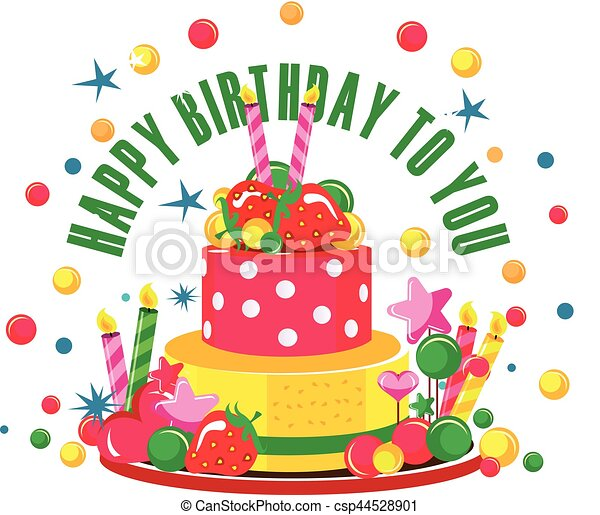 Happy birthday cake Vector illustration of birthday cake vector