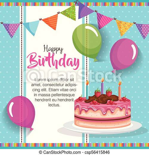Happy Birthday Cake With Balloons Air Celebration Card Vector