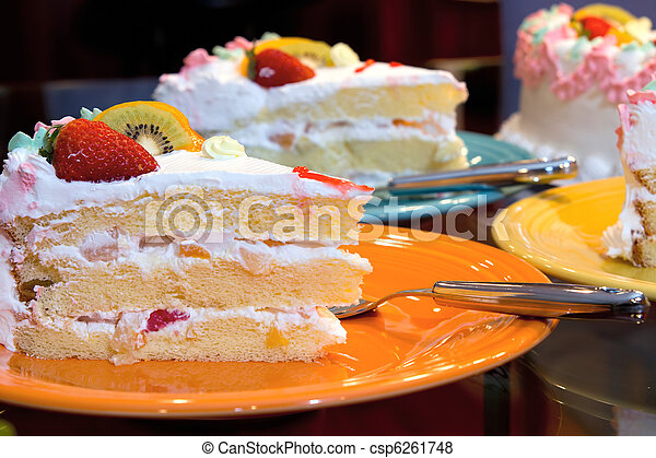 Happy Birthday Cake With Fresh And Canned Fruits