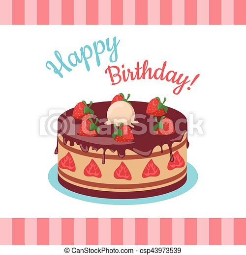Happy Birthday Cake With Strawberries Isolated