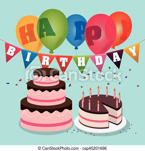 Wondrous Happy Birthday Cakes Balloons Garland Confetti Vector Illustration Funny Birthday Cards Online Elaedamsfinfo