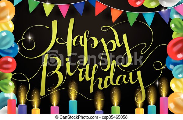 Happy Birthday Design Vector ~ Lovely happy birthday calligraphy design with party supplies