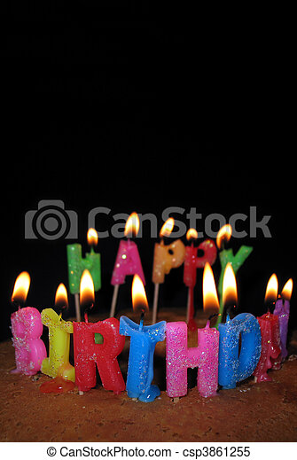 Happy Birthday Candles And Cake Lighted Candles On A Birthday Cake