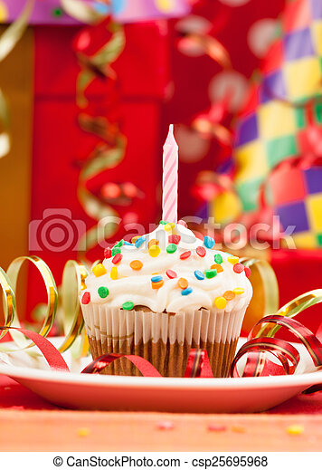 Happy birthday candles cupcake - csp25695968