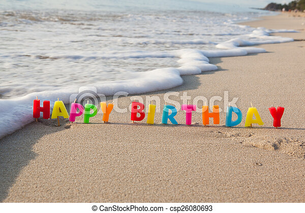Happy Birthday Candles On A Beach