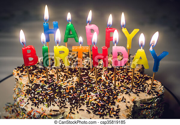 Happy Birthday Candles Top Of Cake With Colorful Letter Shaped