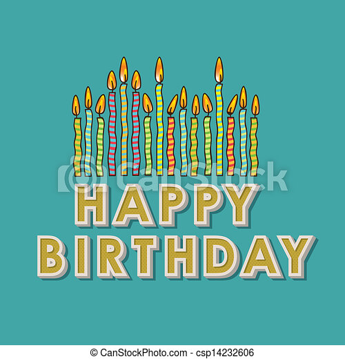 Happy Birthday Candles Over Blue Background Vector Illustration