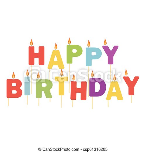 Happy Birthday Candles Vector Illustration Colorful