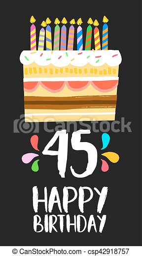 Happy Birthday Card 45 Forty Five Year Cake