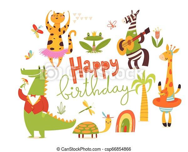 Happy Birthday Card Big Set Of Cartoon Wild Animals Happy Birthday Card Set Of Funny Hand Drawn Wild Animals Great For Canstock