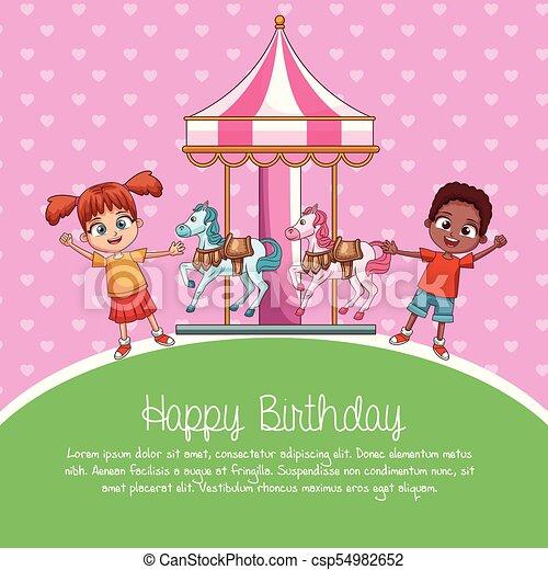 Happy Birthday Card Cartoons Vector Illustration Graphic Design