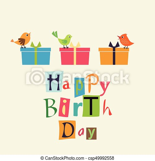 Happy birthday card with sweet birds clipart vector search happy birthday card csp49992558 bookmarktalkfo Choice Image
