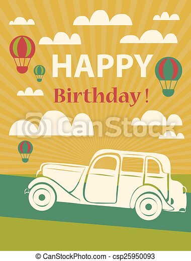 Happy Birthday Card With Retro Car And Hot Air Balloons Eps