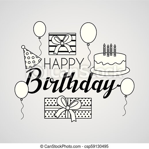 Surprising Happy Birthday Card Draw Cake Hats Balloons Sign Vector Illustration Personalised Birthday Cards Bromeletsinfo