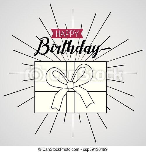 Happy Birthday Card Draw Gift Box Ribbon Sign Surprise Vector Illustration
