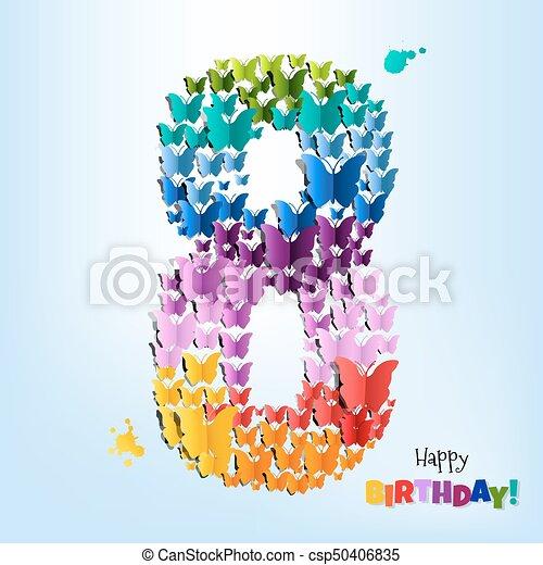 Happy Birthday Card Eight Years - csp50406835