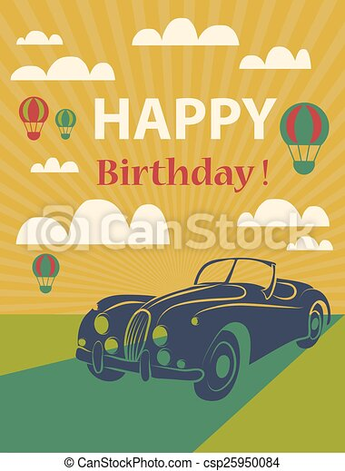 Happy Birthday Card With Retro Car And Hot Air Balloons Vector