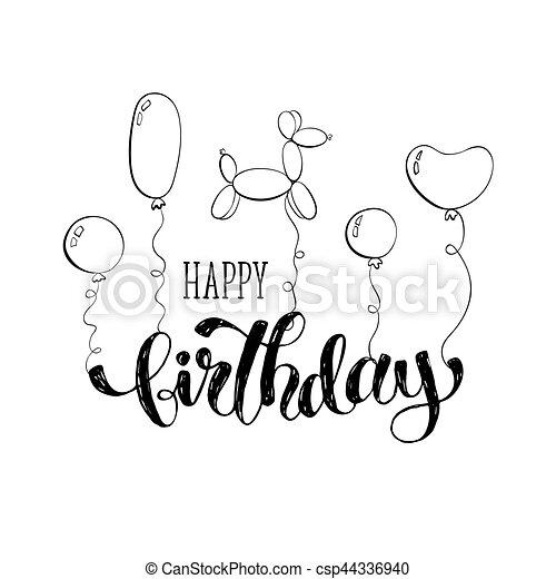 Happy Birthday Card Greeting Hand Drawn