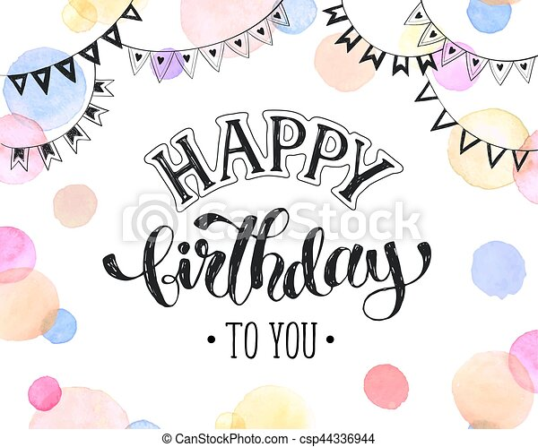 Happy Birthday Card Greeting In Pastel Colors