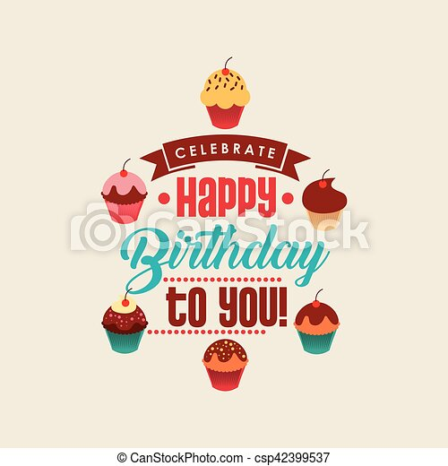 Happy Birthday Card With Sweet Cupcakes Colorful Design Vector