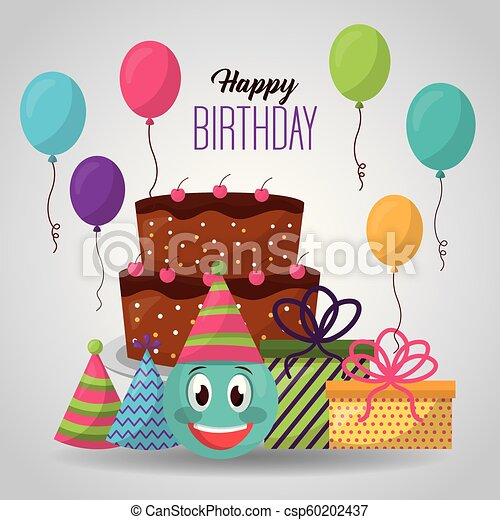 Happy Birthday Card Emoji Face Cake Gifts Balloons