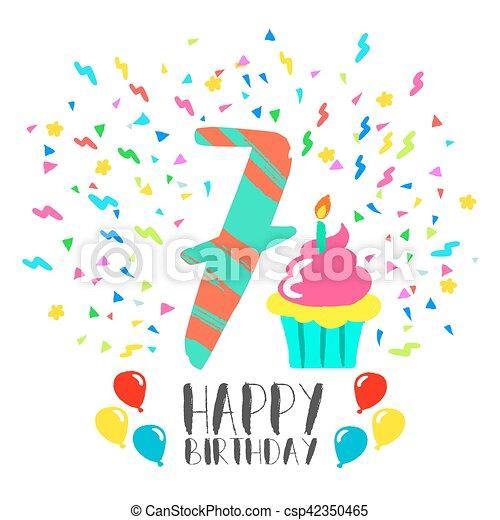 Happy Birthday Card For 7 Year Kid Fun Party Art Happy Birthday