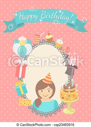 Happy Birthday Card For Girl Modern Flat Birthday Card With Happy