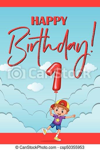 Happy Birthday Card For One Year Old Boy Illustration