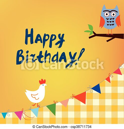 Happy birthday card for the kids with owl and chicken funny happy birthday card for the kids with owl and chicken csp38711734 bookmarktalkfo Choice Image