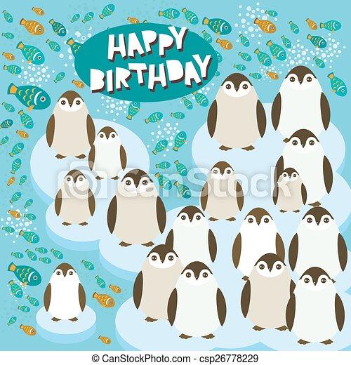 Happy Birthday Card Funny Penguins On An Ice Floe Vector Illustration