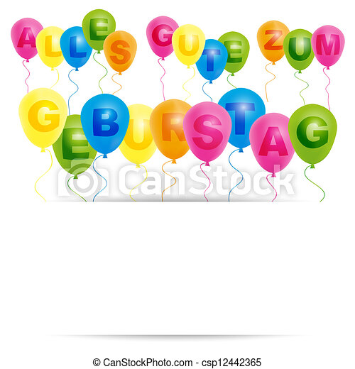 Happy Birthday Card German Happy Birthday Card Color Balloons