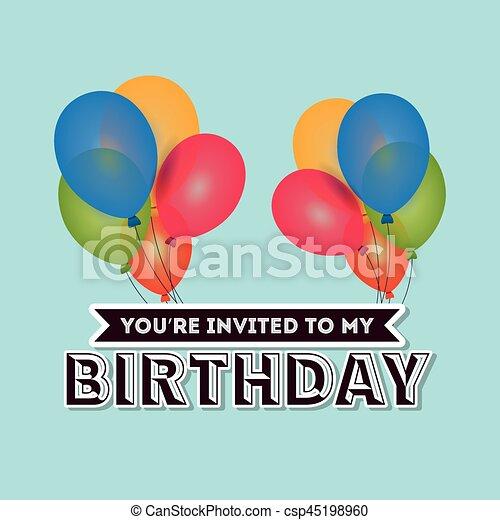 Happy Birthday Card Invitation Colored Balloons