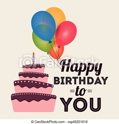 Happy Birthday Card Invitation Greeting Cake Balloons