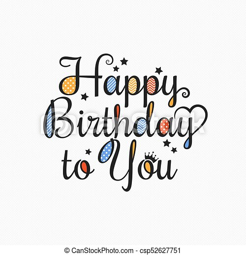 Happy Birthday Card Lettering Design Background 10 Eps