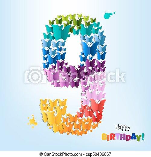 Happy Birthday Card Nine Years - csp50406867