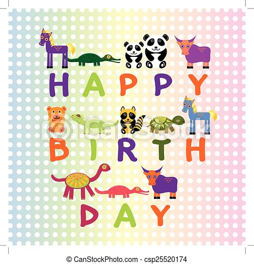 Happy Birthday Card On Pastel Color Background Funny Animals