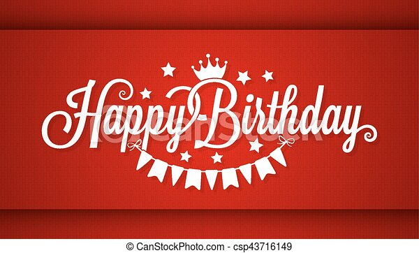 Happy Birthday Card On Red Background - csp43716149