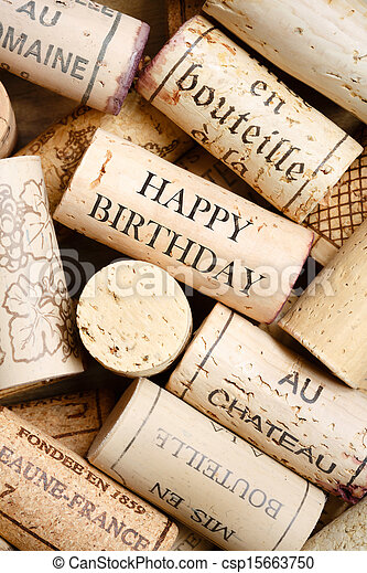 Happy Birthday Card Greeting Made From Wine Corks With Text