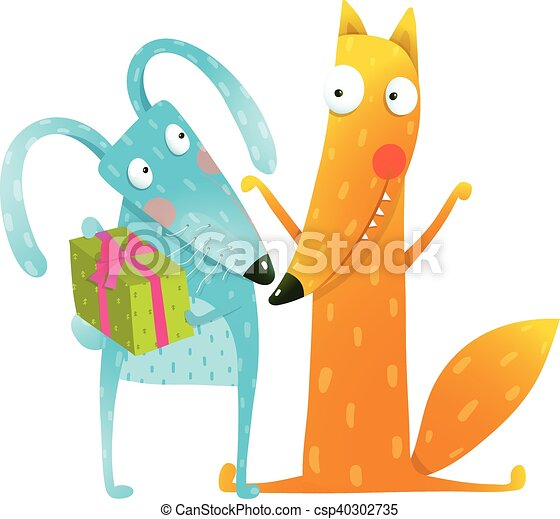 Happy Birthday Card Template With Bunny And Fox Characters   Csp40302735