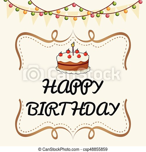 Happy Birthday Card Template With Cake And Lights   Csp48855859