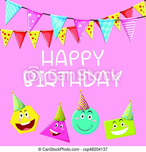 Happy Birthday Card Template With Different Shapes Illustration