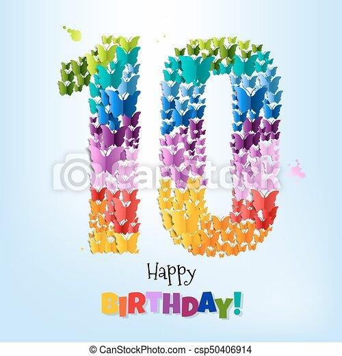 Happy Birthday Card Ten Years - csp50406914