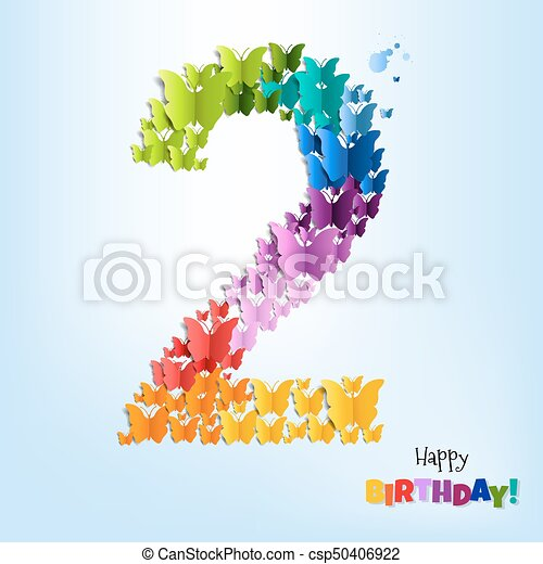 Happy Birthday Card Two Years - csp50406922