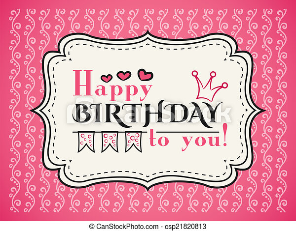 Happy Birthday Card Typography Letters Font Type