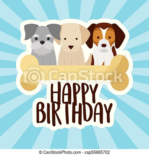 Happy Birthday Card Three Dogs And Bone Vector Illustration