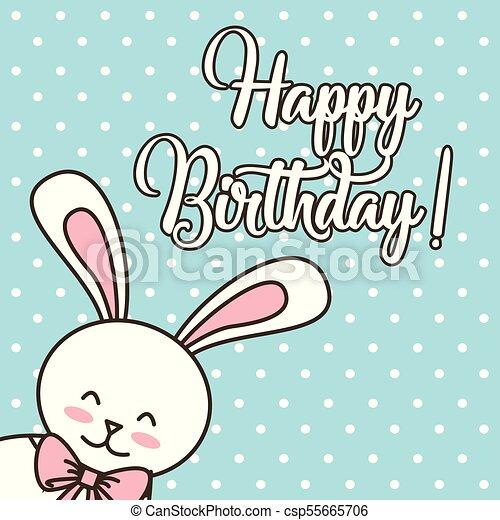 Happy Birthday Card Cartoon Cute Bunny With Bow Vector Illustration